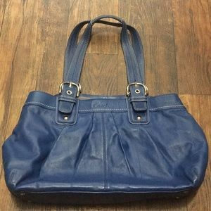 Coach SOHO Pleated Leather Business Tote in Blue